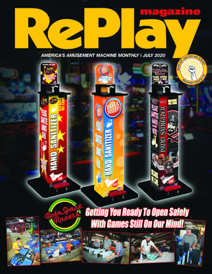 RePlay Magazine Cover - Hands-Free Sanitizer Stations from Bobs Space Racers July 2020